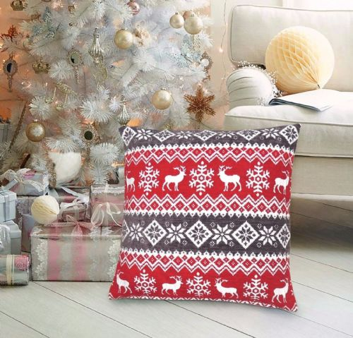 CHRISTMAS THEMED FESTIVE XMAS DESIGN CUSHION COVER RED GREY NORDIC